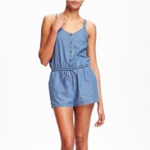 Old Navy chambray tie waist button up romper large